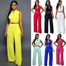 Fashion Womens Sleeveless Belted Jumpsuit Playsuit Romper Wide Leg Long Trousers