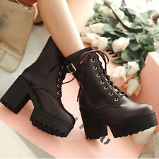 Womens Synthetic Leather Lace Up Ankle Boots High Block Heels Platforms Shoes
