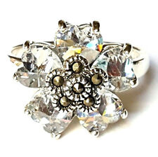 Heart-Shaped CZ Stones RING CZ Flower Petals .925 Sterling Silver: SIZE 6,7,8