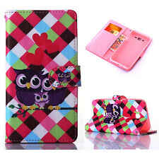 Cute Owl Family Leather Flip Stand Card Holder Wallet Case Cover for Cell Phones