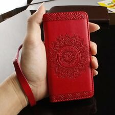 Red Mandala Flower Leather Flip Stand Card Wallet Case Cover for Cell Phones