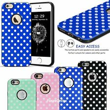 TPU Rubber Hard Hybrid Case White Textured Polka-dot Cover For iPhone 6 6S Gift