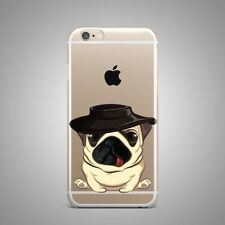 Cute Pug Dog Animal Design Soft TPU Rubber Silicone Clear Cover Case For iPhone