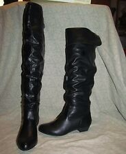 NEW sexy CANDIES Synthetic BLACK over knee boots 2 way rear detail strap sz. 6 M