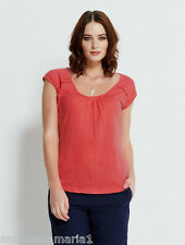 **SALE** NOMADS fair trade ORGANIC COTTON cap sleeve T-SHIRT top CORAL PA44 BNWT