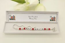 Personalised Teacher Bookmark Gift. End Of Term. Thank You. Leavers. Red Apple