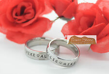 Engraved Anniversary name rings~Personalized~Stainless Steel~2 ring set ~Gift