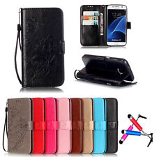 Card Holder PU Leather Flip Wallet Case Cover Stand Floral For Samsung Galaxy