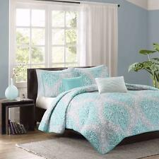 Beautiful 5-Piece Aqua Grey White Damask Coverlet Shams Pillows Bedspread Set