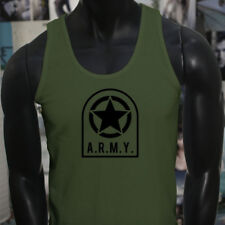 ARMY STAR PATCH NAVY ARMED FORCES MILITARY MARINE Mens Military Green Tank Top