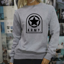 ARMY STAR PATCH NAVY ARMED FORCES MILITARY MARINE Womens Gray Sweatshirt