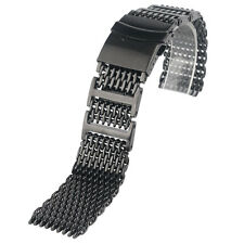 20/22/24mm Stainless Steel Shark Mesh Black Bracelet Men Watch Band Wrist Strap