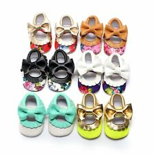 Newborn Baby Girls PU Leather Crib Shoes First Prewalker Shoes Soft Sole Shoes