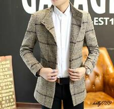 Mens Lapel Single-Breasted Formal Jackets Business Stand collar blazers Coats