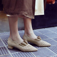 Womens Suede Leather Point Toe Flats Slip On Oxfords Party Chic Shoes Fashion
