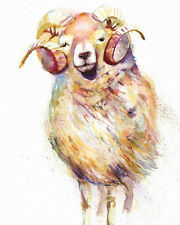 HELEN ROSE Limited Print SHEEP RAM animal art watercolour painting 304