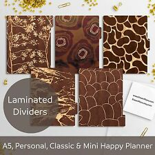 Chocolate - Laminated Planner Dividers - Happy Planner, Filofax A5, Personal