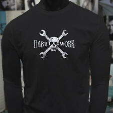HARD WORK SKULL MECHANIC CAR TRUCKS REPAIR ENGINE Mens Black Long Sleeve T-Shirt