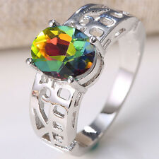 1.3CT Mysterious Rainbow Topaz Women 925 Silver Wedding Engagement Ring Size 7-9