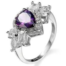 1.1CT Fashion Jewelry 925 Silver Amethyst Wedding Engagement Ring Size 6-10