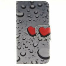 Water droplets Leather Flip Stand Wallet Case Cover Card Holder for Cell Phones
