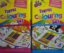 Boys or Girls Travel Colouring Set. 12 Colouring Pencils, 2 x Colouring Books