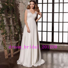 New Arrival White/Ivory Appliques Chiffon Wedding Dress Bridal Gown Size 4-18