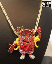 "HIP HOP ICED OUT CZ STONES KOOL AID PENDANT W/ 4mm 36"" FRANCO CHAIN NECKLACE"