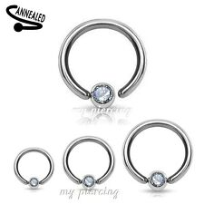 1pc. 18g 16g 14g Steel Fixed CZ Ball Captive Bead Ring Earring Tragus Nose Ring
