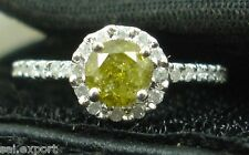 1.7 Carat Round Cut Yellow Diamond Solitaire Engagement Ring 14K White Gold Over