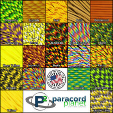 550 Type III 7 Strand Mil-Spec Outdoors Paracord Yellow Color 10' 25' 50' 100'