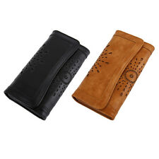 Stylish Vintage Women PU Leather Clutch Purse Carved Hollow Ladies Wallet OU