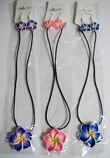 Hawaiian Frangipani Flower Polymer Clay Necklace and Earring Set