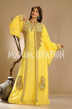 NEW Moroccan Yellow Georgette Kaftan GOLD Embroidery Dubai Abaya Maxi Dress 3505