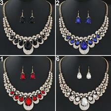 Lady Fashion Rhinestone Waterdrop Pendant Necklace Earrings Jewelry Set Spirited