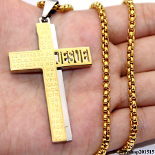 Mens Cross Gold Silver Box Chain Stainless Steel Pendant Necklace 18-34inch 4mm