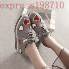 Womens Stylish sweet lace up Wedge Heels Suede korean style shoes date garce New