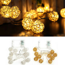 10 LED Rattan Ball Battery String Fairy Light Xmas Home Party Wedding Lamp Decor