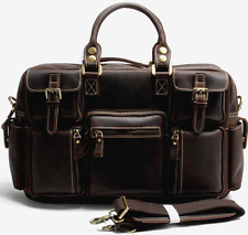 Genuine Leather Vintage Satchel Messenger Briefcase Laptop Shoulder Bag Tote 702