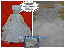 New Baby Girl's Christening/Baptism Dress White Bonnet Virgin Mary Sizes 00-6 :)