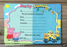 1-10 PEPPA & MINIONS INSPIRED PARTY INVITATIONS OR THANK YOU CARDS