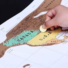 Deluxe Travel Scratch Off World Map Poster Personalized Journal Log Gift New OB