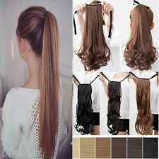 US Drawstring Ponytail Clip in on Pony Tail Hair Extensions real thick blonde