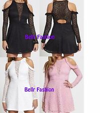NEW WOMENS SEXY LACE CUT OUT COLD SHOULDER FLARED SKATER MINI DRESS UK 6-14