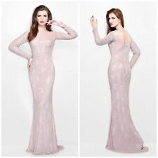 PRIMAVERA COUTURE 1707 LONG SLEEVE BEADED CHAPAGNE  GOWN $599 PAGENT-EVENING