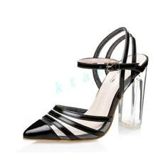 Womens High Heels Slingback Pointy Toe Clear High Heels Block Shoes Pumps New
