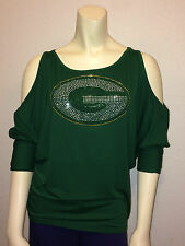 NFL GREEN BAY PACKERS Womens Green Open Shoulder Top with Bling Logo NWT SM-XXL