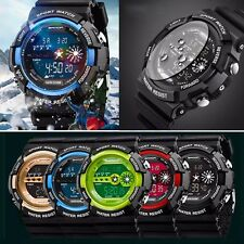 Mens Stainless Steel LED Digital Date Alarm Waterproof Sports Army Quartz Watch
