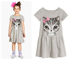 2017 New Cute Baby Kids Girl Clothes Summer Dress Cat Print Cartoon Casual Dress