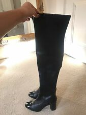 BRAND NEW Zara Knee Thigh High Black High Heel Boots UK 2 EU 35
